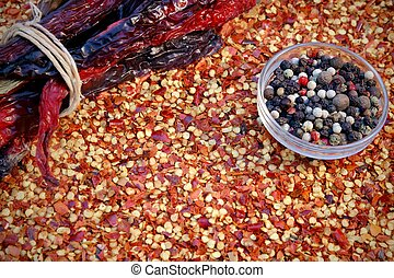 Peppercorn Mix and Milled Chili Pepper Flakes