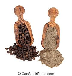Peppercorns and Pepper Powder - Black peppercorn spice and...