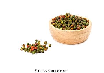 peppercorns, in, ciotola legno