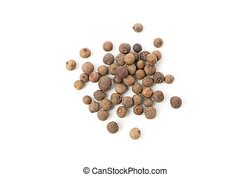 Peppercorns isolated on white background, top view