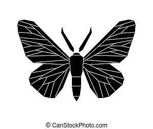 Peppered moth, Biston betularia melanic form. Vector...