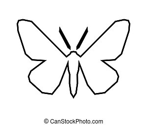 Peppered moth, Biston betularia . Vector icon on white -...