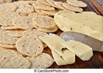 Pepperjack cheese and gluten free crackers