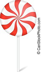 Round peppermint candy with stick on white background, vector eps10 illustration