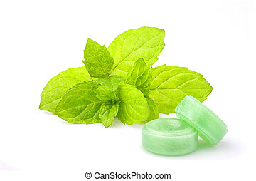 Peppermint candy with sprig mint isolated. - Peppermint ...