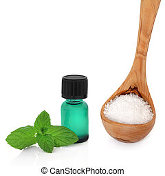 Peppermint Essence and Sea Salt - Peppermint herb leaves...
