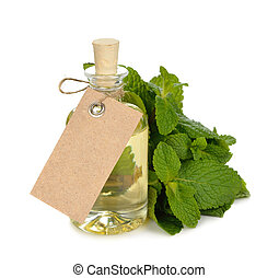 Peppermint essential oil on white background