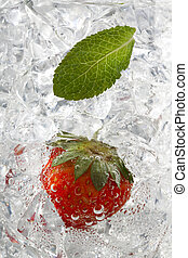 peppermint leaf and strawberry on ice cubes