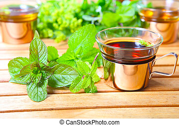 Peppermint tea, medicinal herbs