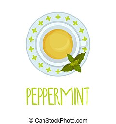 Peppermint Tea Vector Illustration View From Above