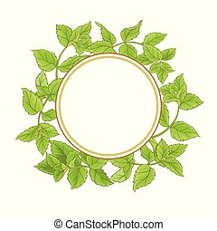 peppermint plant vector frame on white background