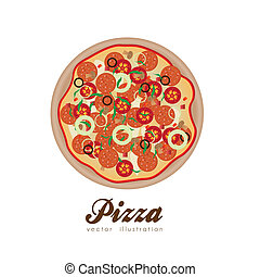 pepperoni, illustrazione, pizza