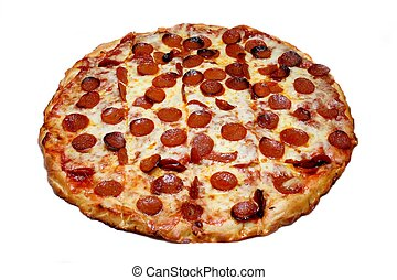 Pepperoni Pizza - A cheese and pepperoni pizza pie, on white...