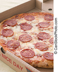 Pepperoni Pizza In A Take Away Box