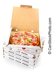 Whole pepperoni pizza in an open cardboard takeaway pizza box waiting for delivery from the pizzeria to a customer at home