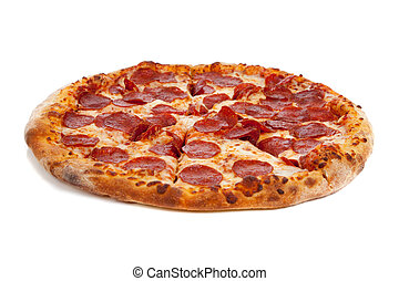 Pepperonli pizza in a box on a white background with ocpy space