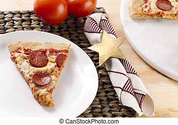 pepperoni pizza on white plate