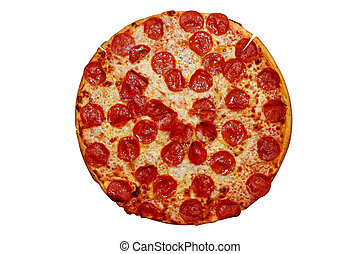 Pepperoni Pizza - Whole pepperoni pizza. Isolated image with...