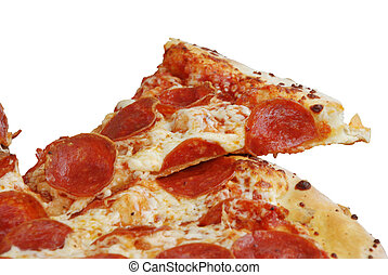 Pepperoni pizza slice isolated