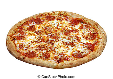 Pepperoni Pizza - Pepperoni pizza. Isolated image with...