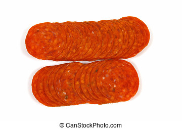 Pepperoni Sausage - Slices of pepperoni sausage ,Isolated on...