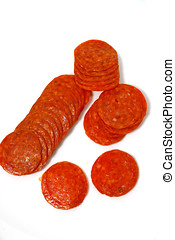 Pepperoni Slices - Close up of pepperoni sausage slices, ...