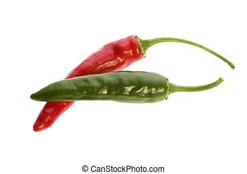 peppers, перец чили, горячий, белый, isolated