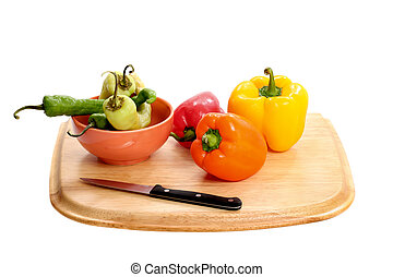 peppers and cutting board