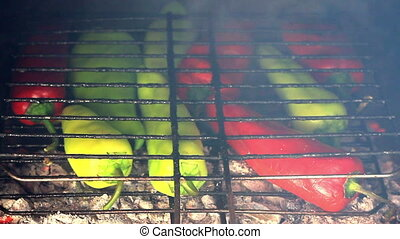 Peppers grilled on fire