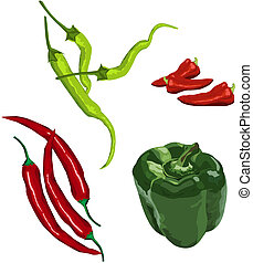 Peppers - Pepper icons on white background