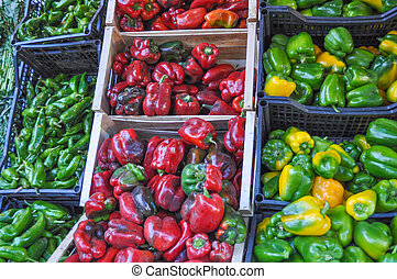 Peppers in a crate