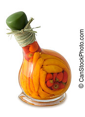 Peppers in bottle - different peppers in glass bottle
