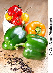 Peppers on table