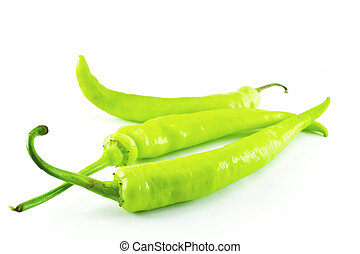 Peppers on white background