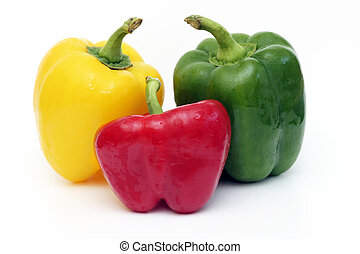 Three peppers isolated on a white background