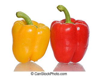 peppers.two, peperoni, su, uno, bianco, fondo.
