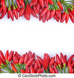 pepprar, het chili, röd