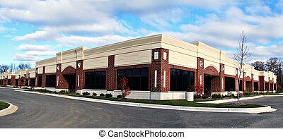 pequeña empresa, edificio, panorama, vista