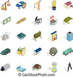 pequeña empresa, iconos, conjunto, isométrico, estilo