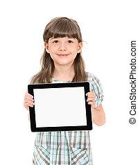 pequeña muchacha bonita, con, un, tableta, computadora