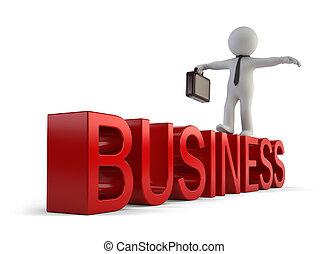 pequeño, 3d, -, empresarios