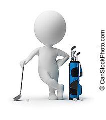 pequeño, -, 3d, golf, gente