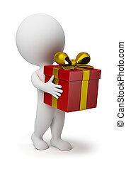 pequeño, 3d, -, regalo, gente