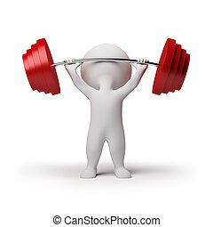 pequeño, -, 3d, weightlifting, gente