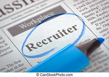 pequeño, ads., reclutador, wanted., periódico