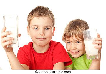 pequeño, agradable, niña, y, niño, bebida, sabroso, leche...