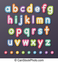 pequeño, alfabeto, papel, cartas