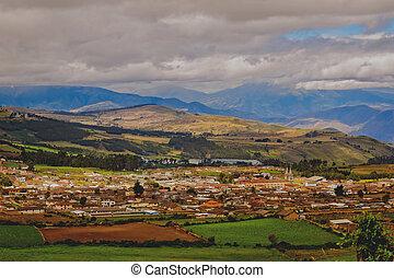 pequeño, andes, aldea, montañas