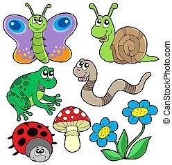 pequeño, animales, colección, 2