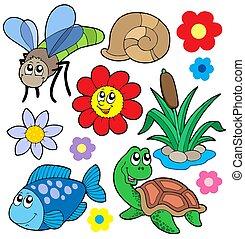pequeño, animales, colección, 5